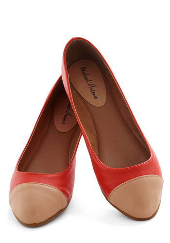 Melon Dip Flat - Orange, Tan / Cream, Solid, Flat, Casual, Coral