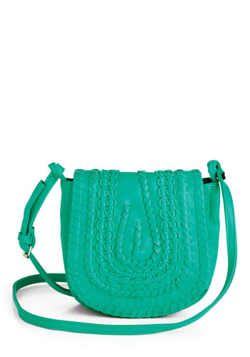 Bridle Party Bag in Turquoise - Blue, Solid, Woven, Boho, Vintage Inspired, 70s, Faux Leather, Variation, Summer
