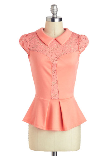 Sleek Peek Top in Grapefruit - Mid-length, Coral, Solid, Lace, Peter Pan Collar, Daytime Party, Vintage Inspired, Peplum, Cap Sleeves, 40s, Collared, Variation
