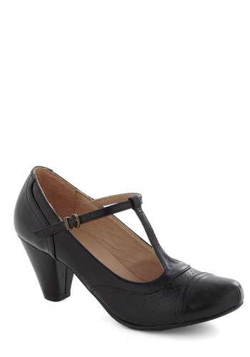 Just Like Honey Heel in Black by Chelsea Crew - Black, Solid, Vintage Inspired, 20s, 30s, Mid, Leather, Faux Leather, Work, Film Noir, Variation