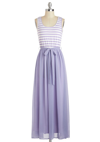 At the Helm Dress in Lavender - Long, Purple, White, Stripes, Belted, Casual, A-line, Maxi, Tank top (2 thick straps), Scoop, Pastel, Summer, Maternity