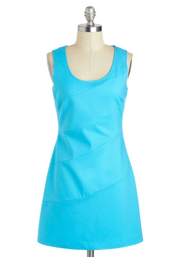 Bright and Beautiful Dress - Short, Blue, Solid, Girls Night Out, Shift, Tank top (2 thick straps), Scoop, Exposed zipper, Party, Vintage Inspired, 60s, Minimal