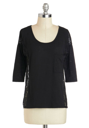 Robotics Club President Top - Black, Solid, Lace, Pockets, Casual, 3/4 Sleeve, Scoop, Mid-length