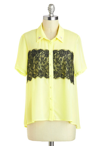 Little Bit of Bliss Top - Sheer, Mid-length, Yellow, Buttons, Lace, Short Sleeves, Collared, Rhinestones, Casual, Button Down, Summer
