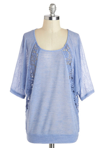 Breezing Through It Top - Blue, Solid, Lace, Casual, Short Sleeves, Sheer, Scoop, Mid-length, Travel