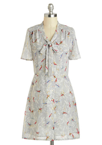Meandering in the Meadow Dress by Miss Patina - Mid-length, International Designer, Grey, Multi, Print with Animals, Tie Neck, Work, Short Sleeves, Buttons, Casual, Vintage Inspired, Shirt Dress, V Neck