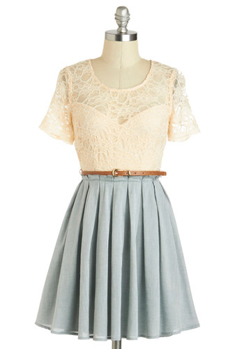 Sage Latte Dress - Blue, Tan / Cream, Lace, Belted, A-line, Short Sleeves, Spring, Sheer, Pleats, Scoop, Casual