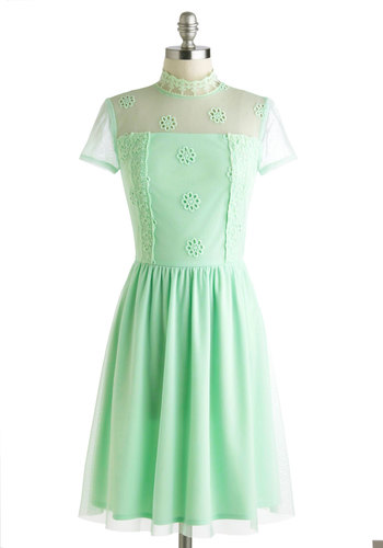 Pistachio to Joy Dress - Pastel, Mint, Solid, Cutout, Eyelet, Lace, Daytime Party, A-line, Short Sleeves, French / Victorian, Sheer, Mid-length