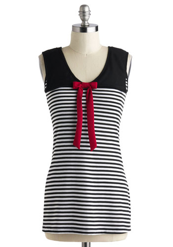 Sail of Two Cities Top - Long, Multi, Red, Black, White, Stripes, Bows, Casual, Sleeveless, Nautical, French / Victorian, Scoop, Summer