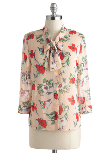 Sigh, the Lanai Top - Tan, Red, Green, Blue, White, Floral, Buttons, Tie Neck, Work, Casual, Beach/Resort, Vintage Inspired, Button Down, 3/4 Sleeve, Mid-length