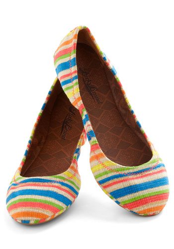 Stripe Gold Flat by Lucky - Flat, Multi, Stripes, Casual, Travel