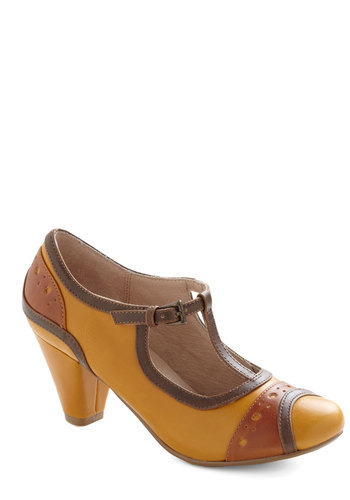 Worthy Original Heel by Chelsea Crew - Mid, Yellow, Brown, Tan / Cream, Vintage Inspired, 20s, 30s, Work, Casual, 60s, Better, T-Strap, Folk Art