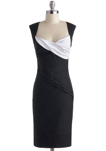 Dynamic Dame Dress in Black and White - Mid-length, Black, White, Ruching, Cocktail, Sheath / Shift, Sleeveless, Pinup, Vintage Inspired, 50s, Variation, Top Rated