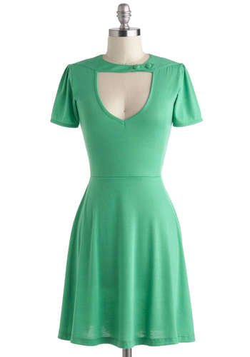 Exhilarating Evening Dress in Green - Green, Solid, Cutout, Casual, Pinup, Vintage Inspired, A-line, Short Sleeves, Jersey, Buttons, Party, Variation, Spring, 60s, Exclusives