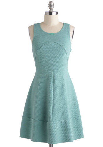 Go South Beach Dress - Pastel, Mid-length, Blue, Solid, Cutout, A-line, Racerback, Scoop, Casual