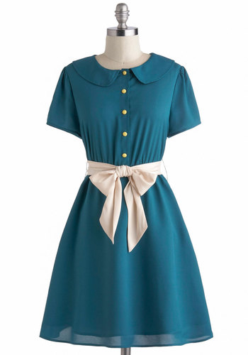 Teal My Breath Dress by Tulle Clothing - Mid-length, Blue, Solid, Buttons, Peter Pan Collar, Belted, Casual, Short Sleeves, Collared, Pockets, Vintage Inspired, 50s, A-line, Work