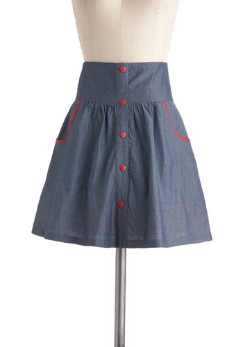 Amour the Merrier Skirt - Short, Blue, Red, Solid, Buttons, Work, Pockets, Trim, Casual, Nautical, Vintage Inspired, Scholastic/Collegiate, Cotton, Summer