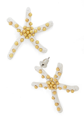 Star Studded Party Earrings - White, Gold, Solid, Beads, Nautical, Summer