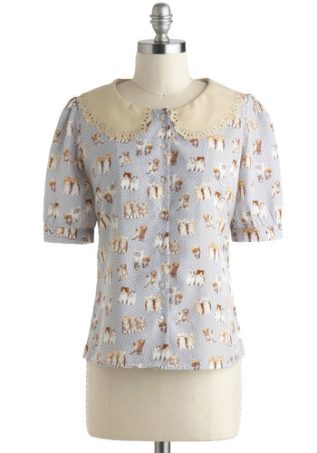 You Sure Look Kitty Top by Miss Patina - Mid-length, International Designer, Multi, Tan / Cream, Grey, White, Print with Animals, Buttons, Eyelet, Peter Pan Collar, Work, Vintage Inspired, Quirky, Short Sleeves, Polka Dots, Cats