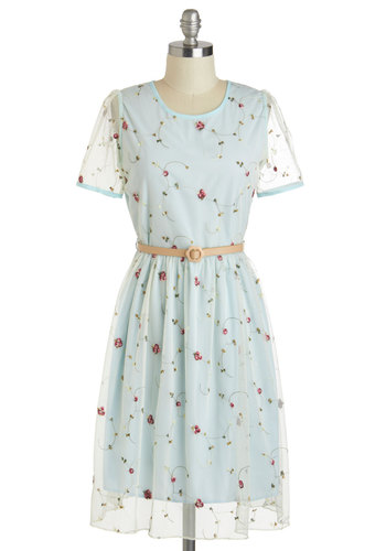 Noon Light and Roses Dress - International Designer, Sheer, Mid-length, Blue, Red, Green, Floral, Embroidery, Belted, Daytime Party, A-line, Short Sleeves, Crew, Fairytale