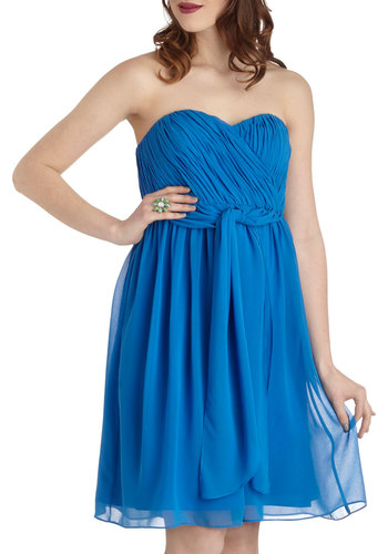 In the Fab Mood Dress - Blue, Solid, Tiered, Cocktail, Strapless, Spring, Mid-length, Empire, Sweetheart, Wedding, Party, Luxe, Prom, Bridesmaid