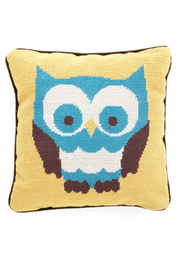 Eyes on the Surprise Pillow by Louche - International Designer, Cotton, Yellow, Owls, Dorm Decor