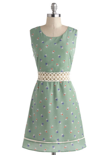 Gallivant Around the Grounds Dress - International Designer, Mid-length, Mint, Multi, Floral, Pockets, Daytime Party, A-line, Sleeveless, Scoop, Cutout