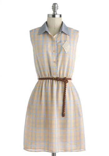 Market Fresh Dress - International Designer, Mid-length, Blue, Buttons, Pockets, Belted, Casual, A-line, Sleeveless, Collared, Yellow, Plaid, Lace