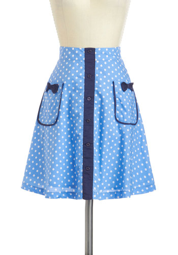 The Spin You're In Skirt - Mid-length, Blue, White, Polka Dots, Bows, Pockets, Daytime Party, Rockabilly, Pinup, Vintage Inspired, 50s, A-line