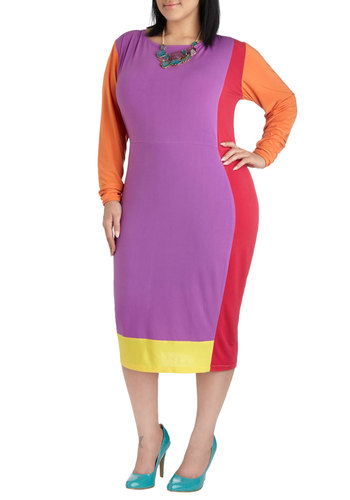 Mod My Day Dress in Plus Size by Youtheary Khmer - Multi, Red, Orange, Yellow, Purple, Party, Colorblocking, Long Sleeve, Spring, Sheath / Shift, Crew, Girls Night Out