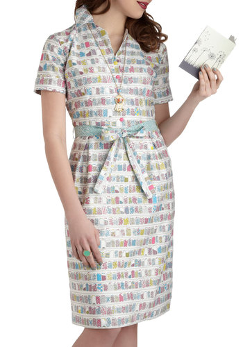 Yes You Candy Dress - International Designer, Cotton, Long, Grey, Multi, Novelty Print, Buttons, Belted, Casual, Short Sleeves, Collared, Vintage Inspired, Pastel, Quirky, Shirt Dress