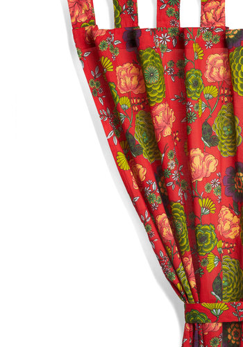 Bouquet Dokie Curtain by Karma Living - Cotton, Red, Boho, Floral, Dorm Decor, Mid-Century, Better