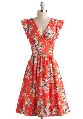 Bundle of Beauty Dress - Cotton, Long, Orange, Multi, Floral, Ruffles, Daytime Party, Fit & Flare, Cap Sleeves, V Neck