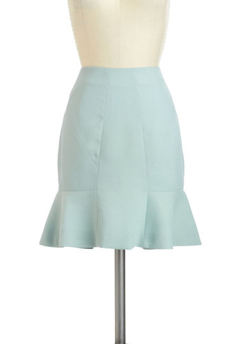 Breeze Through Your Day Skirt - Short, Blue, Solid, Work, A-line, Variation, Spring, Pinup