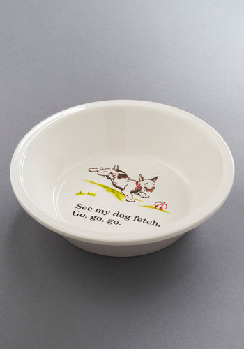 Fetched in Stone Dog Bowl - White, Print with Animals, Vintage Inspired, Quirky