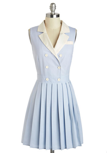 Are We There Jet? Dress - International Designer, Mid-length, Blue, White, Solid, Buttons, Pleats, Casual, A-line, Sleeveless, Collared, Vintage Inspired