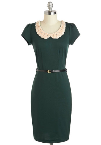 Precious Pearls Dress - Peter Pan Collar, Collared, Mid-length, Green, Pearls, Work, Sheath / Shift, Cap Sleeves, Belted, Vintage Inspired, 60s, Rhinestones, Beads