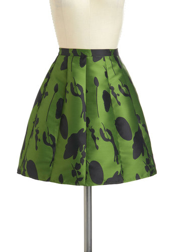 Ver-dance Partner Skirt - Short, Green, Black, Print, Work, A-line, Party