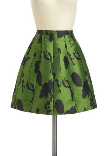 Ver-dance Partner Skirt - Short, Green, Black, Print, Work, A-line, Party