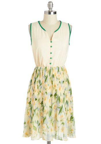 Ever-so-glade to See You Dress by Miss Patina - International Designer, Mid-length, Cream, Floral, Buttons, Pleats, Sleeveless, Yellow, Green, Casual, A-line