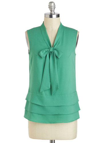 Poetry Critic Top - Mid-length, Green, Solid, Work, Sleeveless, Tiered, Tie Neck, Casual, Spring, V Neck, Summer, Green, Sleeveless, Good