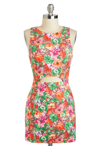 Corsage of Action Dress - Short, Multi, Floral, Cutout, Exposed zipper, Party, Bodycon / Bandage, Sleeveless, Girls Night Out, Vintage Inspired, 80s, 90s, Summer