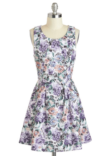 Shade Grown Dress - Purple, Multi, Floral, Pleats, Daytime Party, A-line, Tank top (2 thick straps), Short, Scoop, Graduation, Summer