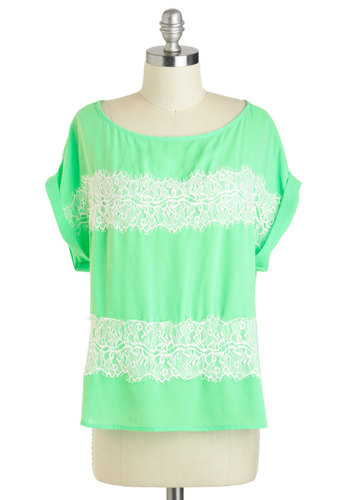 Spearmint to Be Top - Sheer, Mid-length, Green, White, Lace, Casual, Neon, Short Sleeves, Summer, Travel