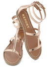 Ships Alloy Sandal - Gold, Solid, Flat, Strappy, Summer
