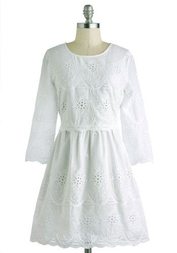 Graced with Style Dress - Cotton, Short, White, Solid, Buttons, Eyelet, Scallops, Shift, 3/4 Sleeve, Crew, Daytime Party, Graduation, French / Victorian, Summer