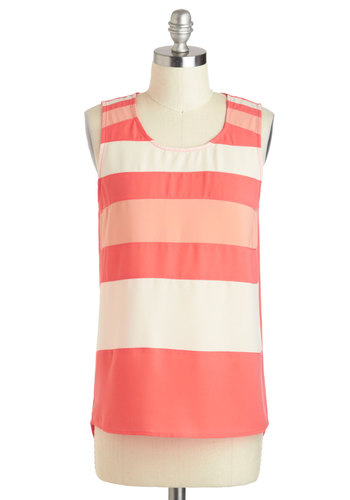 Matching Daiquiris Top - Mid-length, Coral, White, Stripes, Casual, Beach/Resort, Sleeveless, Pastel, Summer, Travel