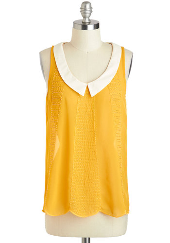 Bead and Breakfast Top - Mid-length, Yellow, White, Solid, Peter Pan Collar, Daytime Party, Sleeveless, Collared, Beads, Beach/Resort