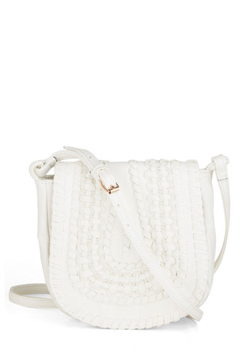 Bridle Party Bag in White - White, Solid, Woven, Boho, Vintage Inspired, 70s, Variation