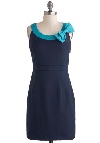 Sea What I Marine? Dress - Mid-length, Blue, Solid, Bows, Lace, Party, Sheath / Shift, Sleeveless
